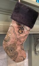 Christmas Stocking Brown Pattern Material With Faux Fur Cuff Corded Piping