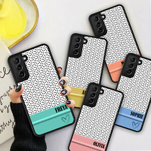 PERSONALISED POLKA DOTS PASTEL Phone Hard Case Cover For Samsung S21 Plus Ultra