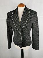Ladies Jacket Size 12 GERRY WEBER Black Spotted Blazer Smart Day Office Work