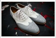 Handmade Leather two tone Brogue Gray and white leather shoes for men