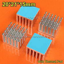 5pcs 20x21x15mm Aluminium Silver Radiator Heatsink Cooler With Thermal Tape