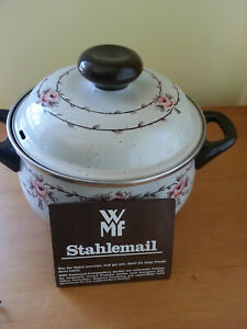 WMF Stahlemail Enamel Vintage Pot with Lid Made in Germany High Quality NEW!