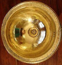 Brass Moroccan hand hammered round sink wash basin with design