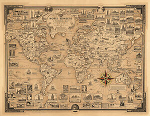 """1939 Pictorial Map World Wonders History Home Schooling Wall Poster Print 11""""x14"""