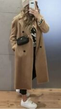 ZARA DOUBLE BREASTED FAUX FUR COAT CAMEL SIZE XS SOLD OUT BLOGGERS BNWT