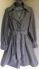 "ALL SAINTS""RUITFIELD""silver grey trench coat/mac collar tie belt full skirt 8VGC"