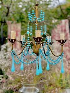 Murano Italian Antique Aqua Blue Opaline Drops and Beads Chandelier 5 lights