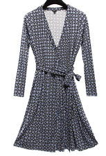 ANN TAYLOR WOMEN'S BLUE PRINTED LONG SLEEVE ALWAYS ON WRAP JERSEY DRESS Sz 14