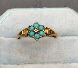 Victorian 15ct yellow gold turquoise flower with diamond centre cluster ring.