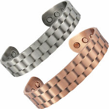 MAGNETIC BRACELET MENS LADIES BANGLE COPPER PEWTER WATCH CUFF LOOK ARTHRITIS
