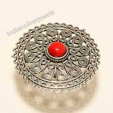 Handmade Ring Gemstone Ring Stylish Coral Silver Plated Ring