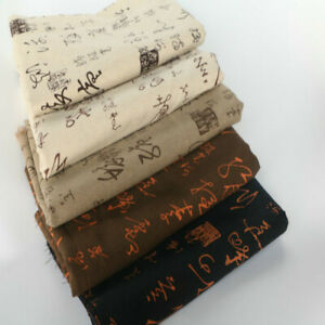 Chinese Cotton Linen Fabric Material Calligraphy Printed Ethnic Clothes DIY Trim