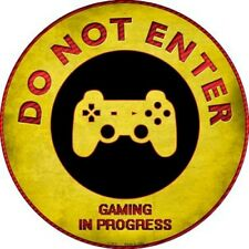 """Do Not Enter Playstation Gaming In Progress 12"""" Round Metal Sign Novelty Decor"""