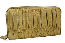 $750 PRADA Gold NAPPA GAUFRE Leather Women's Zipper Wallet LIMITED EDITION
