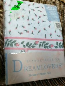 Rosebud Floral Brushed Cotton Flannelette Double Sheets & Pillowcases Bed Set