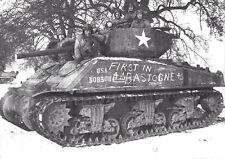 WWII B&W Photo M4 Sherman Tank Bastogne Battle of Bulge 4th Armored   WW2 / 3021
