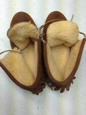 VINTAGE BROWN LEATHER FRINGE MOCCASIN SIZE 5-6