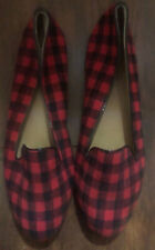 J Crew Cora Loafers Ballet Flats Driving Shoes 8.5 Red Black Buffalo Plaid Check
