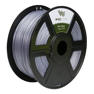 Silver PLA 1.75mm WYZworks 3D Printer Premium Filament 1kg/2.2lb