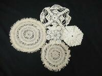 Lot of 5 Small Beige Tan Doilies Coasters Knit Crochet Tatted