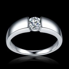 filled Anel Zirconia ring size O Uk-55mm 925 Sterling Silver with 18k real gold