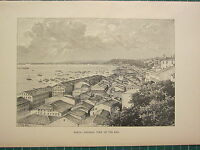 C1890 Antico Stampa ~ Bahia ~ Generale Vista Di The Bay