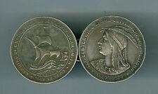 2 Scarce Silver 1907 Jamestown Belt Buckle HK344 So Called Dollar