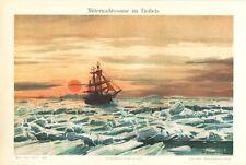 Minuit Soleil au treibeis Lithographie 1898 Midsummer