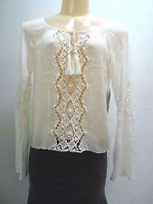 $69.50 NEW RIP CURL EARTH ANGEL SHIRT Lace insets TOP BLOUSE SMALL 11-130