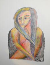 Original cubist portrait pastel drawing signed