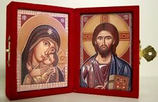 Diptych Icon: Lord & Virgin with Child - In a Red Felt Timber Case, 5.5x8cm each