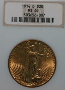 1914-D Denver Mint Liberty $20 Gold Coin NGC Graded MS 65