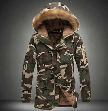 2017 Mens Thicken Camo Jacket Coat Fur Hooded Cotton Padded Warm Outwear Parka Army Green UK M(tag Xxl)