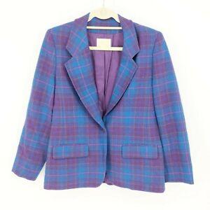 Pendleton Vintage Women's Blue Purple Plaid One Button Wool Blazer Coat Size: 8