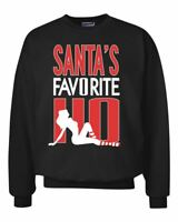 Santa's Favorite Ho Funny Stripper Xmas Ugly Christmas Sweater Crewneck Graphic