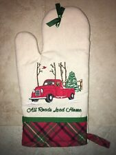 New Christmas Farmhouse Oven Mitt Red Truck Tree All Roads Lead Home No Mix Inc!