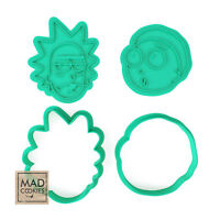 Rick and Morty Cookie Cutters Stamps Set - Rick and Morty Cartoon Cookies.
