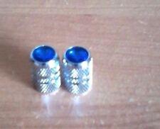 Chrome Silver Blue Jeweled Valve Stem Covers/Caps For Schwinn, Huffy