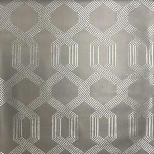 Y6221202 - Mid Century Grey Silver Lattice Stripes SJ Dixons Wallpaper