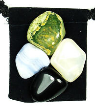 REPRESSED EMOTIONS Tumbled Crystal Healing Set = 4 Stones + Pouch + Description
