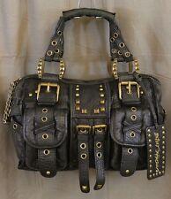 BETSEY JOHNSON Black Leather Studded and Buckle Handbag/Shoulder Bag Purse