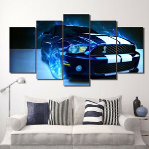 Blue Ford Mustang Shelby Car Poster 5 Panel Canvas Print Wall Art Home Decor