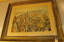 1900-1949 Vernon Howe Bailey Signed Framed Watercolor Architecture & Cityscape