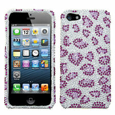iPhone 5 5S SE Crystal Diamond BLING Hard Case Snap Phone Cover Purple Cheetah