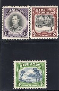 1938 Nuie. SC#73-75. SG#75-77. Mint, Lightly Hinged, VF.