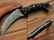 Custom Made Black Horn Karambit  8.2'' Fixed Blade Damascus Steel Hunting Knife