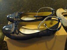 Girls Lands End Captoe Ballet Shoes - Navy Size 2
