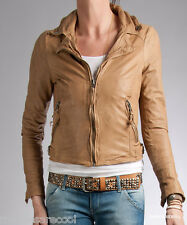 NWT MUUBAA AURIGA LEATHER BIKER JACKET SKINNY ALMOND 6 S XS UK 10