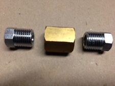 BRASS Brake Pipe Joiner And 2 x Tube Nuts  7/16 X 24mm thread - SUITS 1/4 PIPE