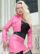 Lederjacke Leder Jacke Pink Jeansstil Kurz Maßanfertigung